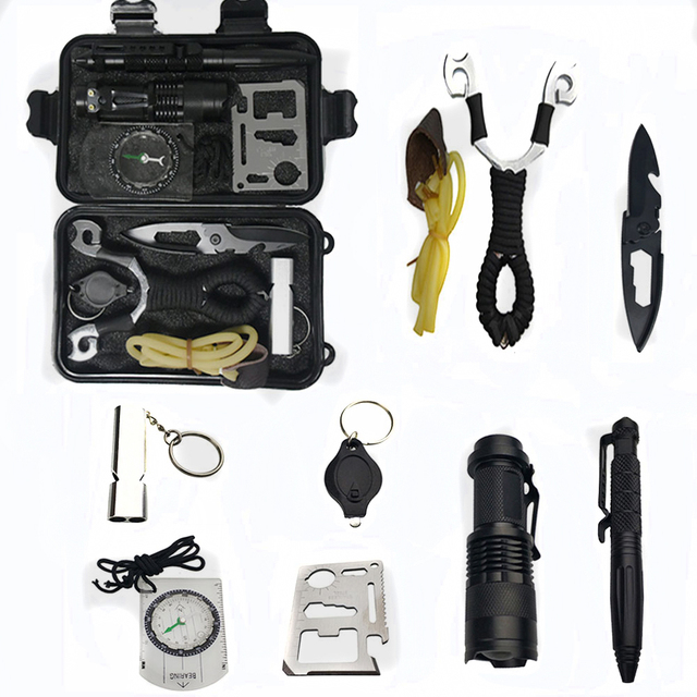 a3cbf1a3022 10 in 1 survival kit Set Outdoor Camping Travel Multifunction First aid SOS  EDC Emergency Supplies Tactical+slingshot