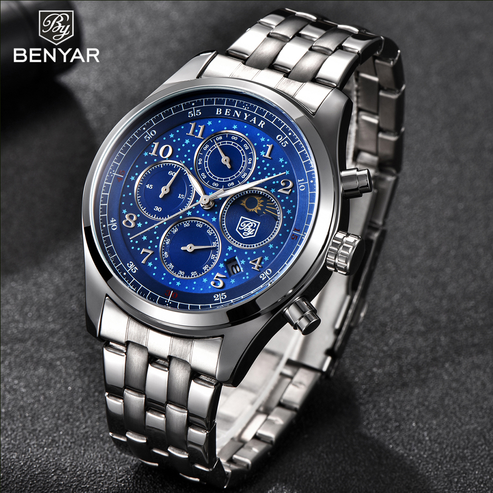 New Benyar men watch moon phase quartz watch men luxury full stainless steel male analog clock blue wristwatch mens reloj hombre italian genuine calf leather watchband for iwatch apple watch 38mm 42mm series 1 2 3 band alligator grain strap wrist bracelet