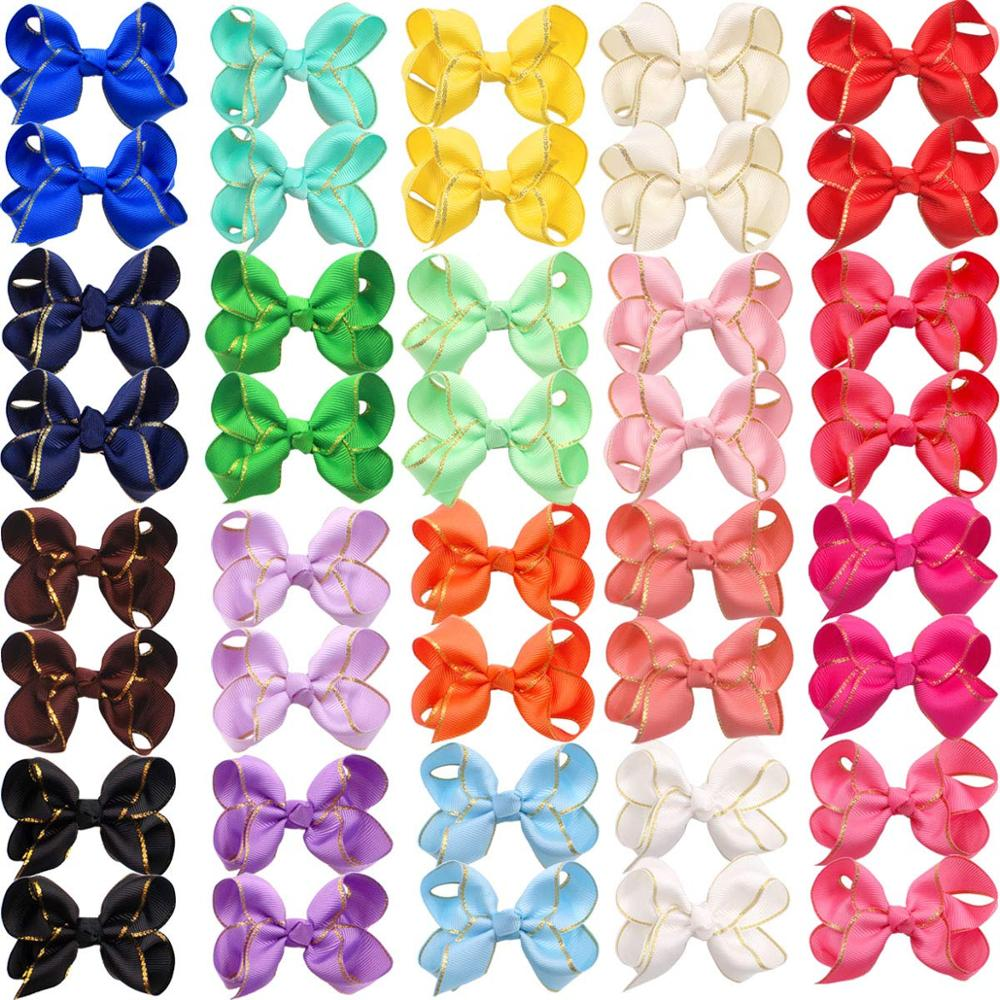 40 Pieces Baby Girls Bow Clips Boutique Grosgrain Ribbon Gold Thread 3