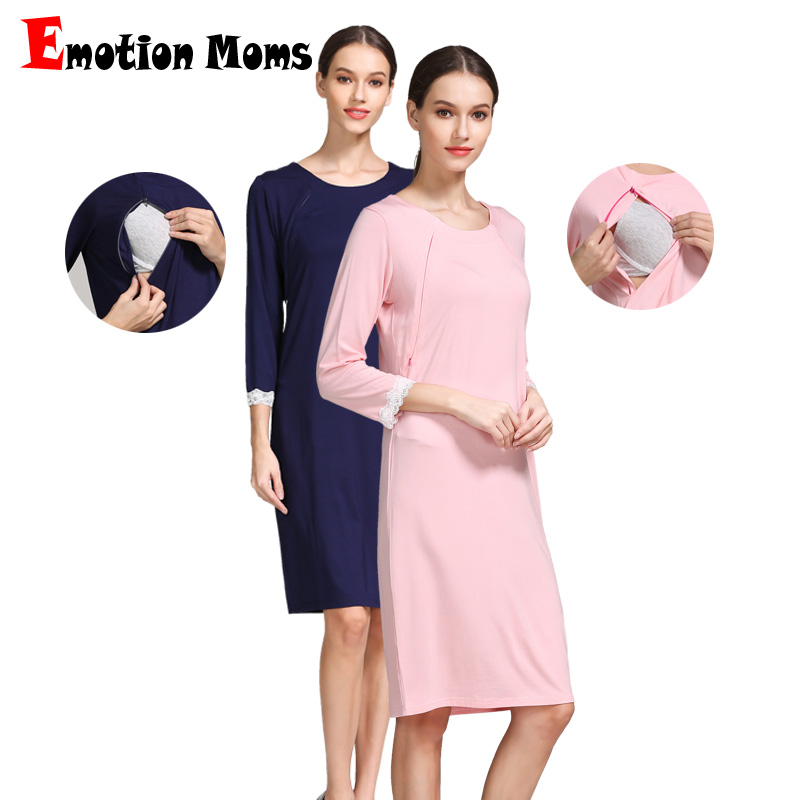 Emotion Moms Pregnancy Maternity Pajamas Sleepwear Nursing Pregnant Breastfeeding Lace Nightgown Elegant Clothing