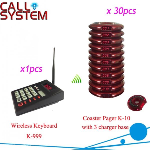 1 передатчика 30 пейджеры ; горячая распродажа беспроводной очередь система вызова лучшее обслуживание для ожидания клиентов с 3 зарядное устройство база