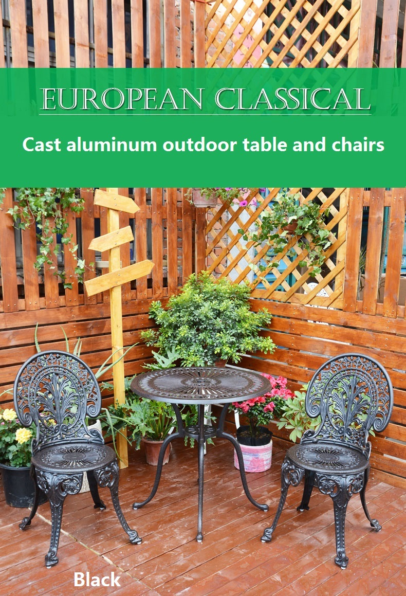 Cast aluminum outdoor table and chairs balcony small coffee table combination garden chair three-piece outdoor chair table set