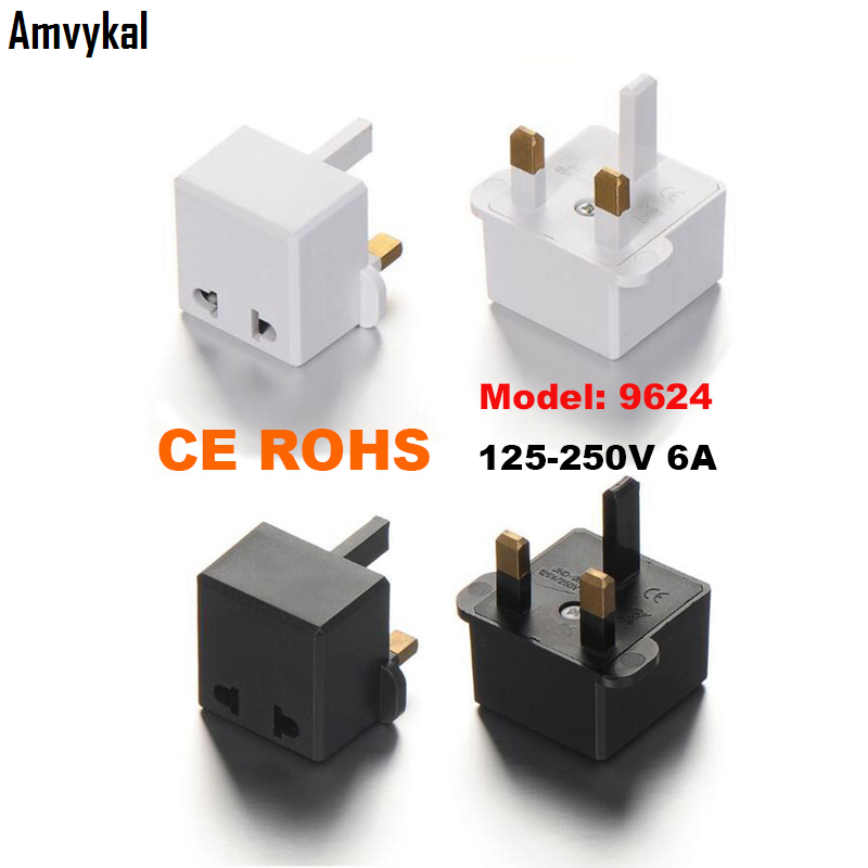 Amvykal High Quality CE ROHS 9624 AC Power Electrical Plug US EU To UK Plug Adapter UK Travel Charger Converter Outlet 100 Pcs