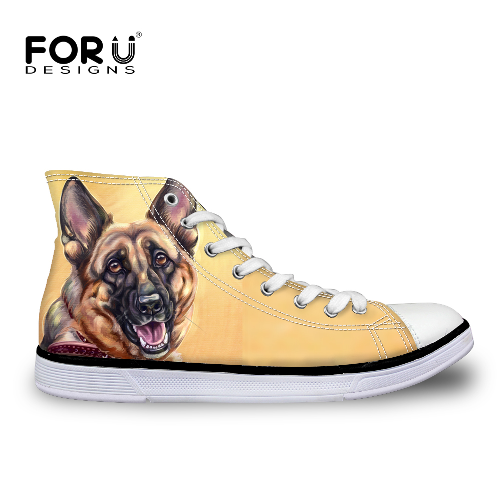 FORUDESIGNS צבעוני כלב גבוהה למעלה בד נשים סניקרס דירות לגפר נעליים יומיומיות חמוד גרמנית רועה מותג נשים נעלי 2018