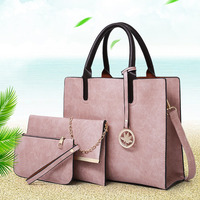 2018 Women Messenger Bags For Ladies Handbag Fashion Shoulder Bags PU Leather Casual Female Wristlets Sac a Main Set 3 Pcs
