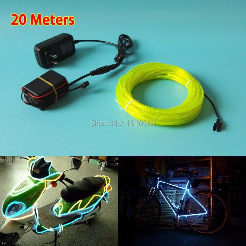 Горячая 20 метров 3,2 мм 10 цветов выбор Гибкий EL провод энергосберегающие светящиеся изделия питание от 100 V 220 V привод вечерние светодиодные ленты