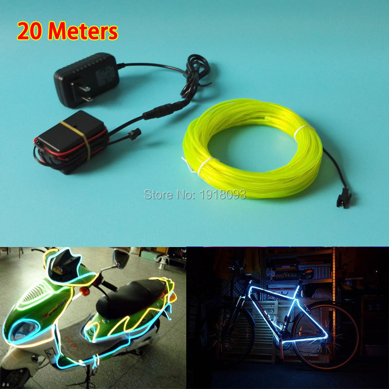 Hot 20Meter 3.2mm 10Colors Choice Flexible EL wire Energy saving Glowing products Powered by 100V 220V Drive Party LED Strip