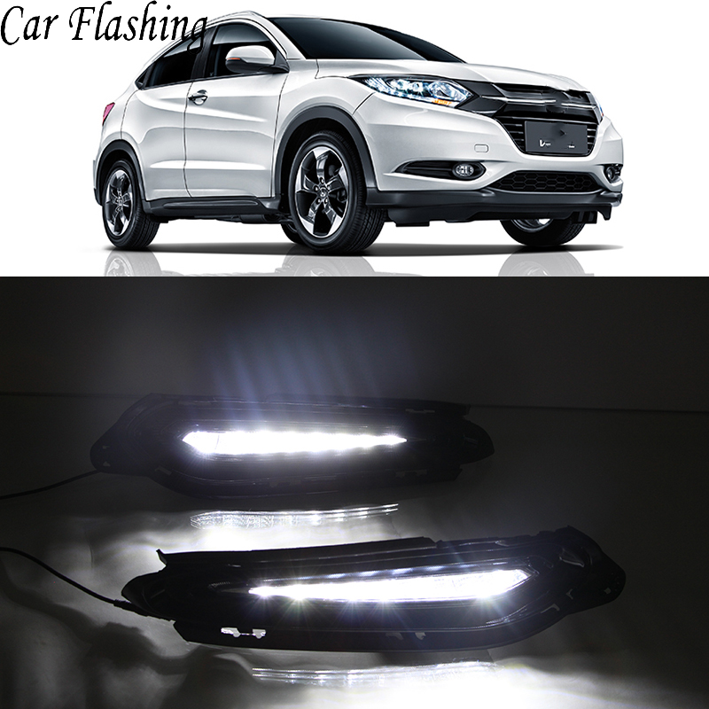 Car Flashing 1Pair DRL For Honda HR V HRV Vezel 2014 2015 2016 2017 2018 Daytime
