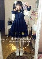 Mùa thu và mùa Đông Mori girl Phong cách cổ điển thỏ Sakura thêu Trung Quốc gió Lolita cung điện màu xanh Res đầy đủ sườn xám váy