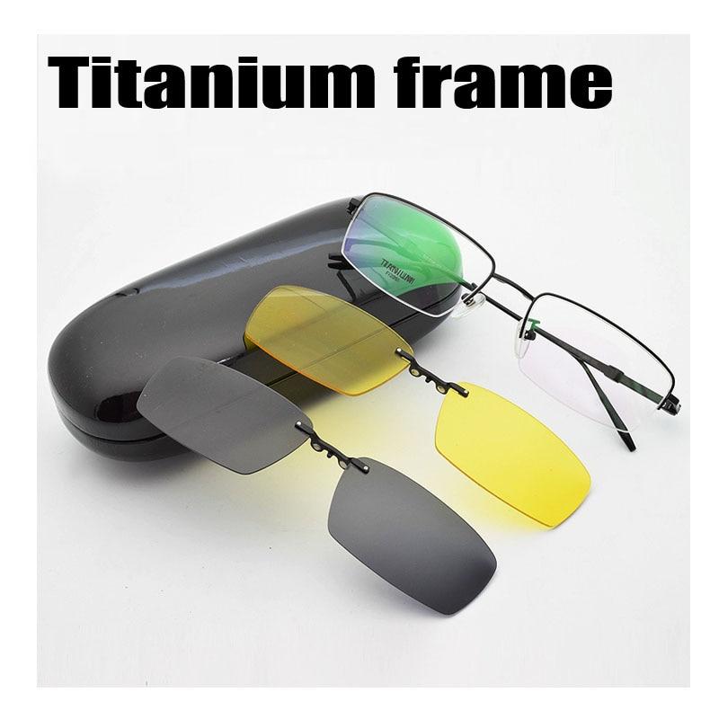 Half Frame Male Pure Titanium With Polarized Glasses Myopia Glasses Sunglasses Night-Vision Clip Titanium Frame Magnet Driving
