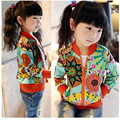 2016 Marca Meninas Sunflower Impressão Jaquetas Casuais Para O Outono Primavera Trendy Crianças Zipper Casaco Fino Top Outerwear Meninas Escola Encantador