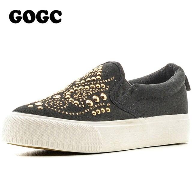 GOGC шипованных Женская обувь Шипованная Холст обувь Женщины Причинное Обувь Удобная толстым дном скольжения на обувь для женщин Slipony 2016 г. Новый