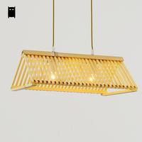 Handmade Bamboo Roof Shade Pendant Light Cord Fixture Nordic Japanese Creative Art Deco Lamp Luminaria Design