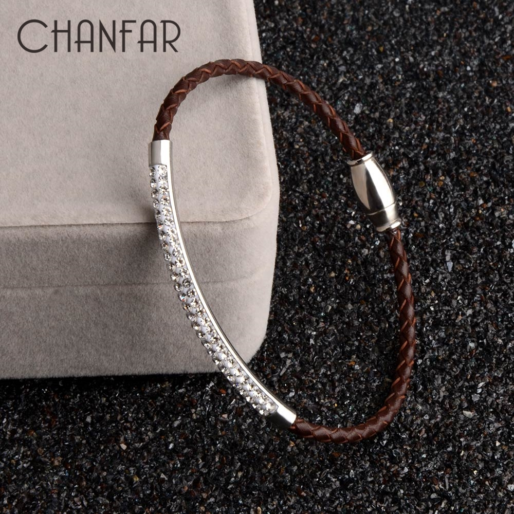 Chanfar Genuine Leather Stainless Steel Bracelet With Magnetic Clasp Wrap Rhinestone Pave Bracelet For Women Men Jewelry