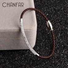 Браслет chanfar из натуральной кожи и нержавеющей стали с магнитной