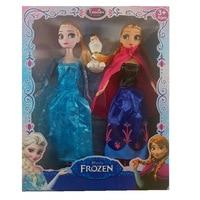 3 pcs Disney 30 Cm Poupées Congelés Princesse Anna Elsa Poupée En Plastique Ensemble Jouets Filles pour Enfants Cadeau D'anniversaire