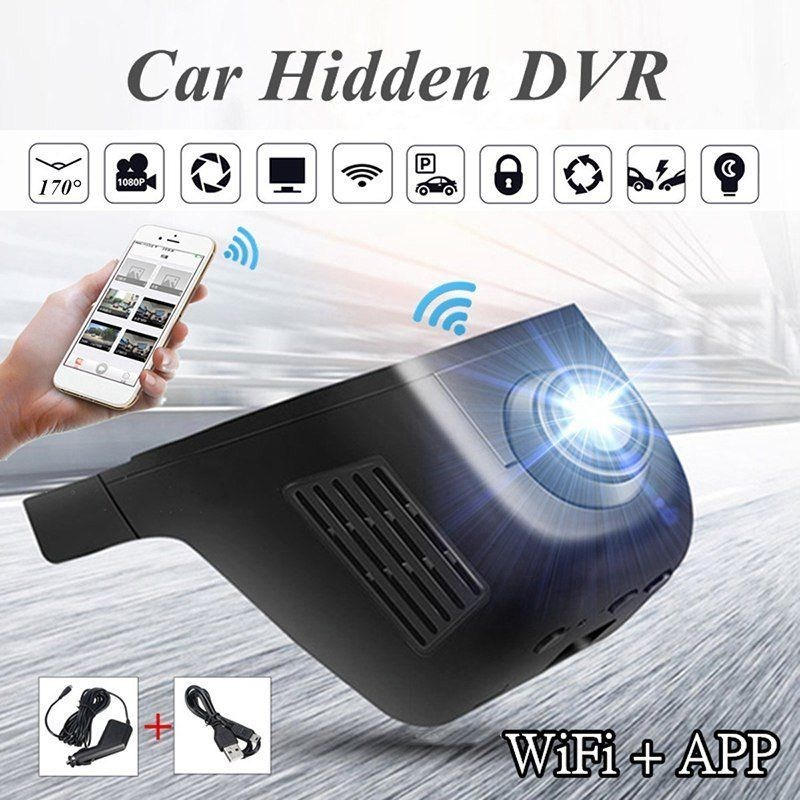 Black Drive Recorder Car DVR Dash Cam 1080 P Wifi Windshield Hidden Driving Recorder Camera Support