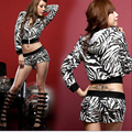 2016 Frete Grátis Verão da cópia do leopardo sexy hop dança jazz solta t-shirt top feminino shorts de cintura alta conjunto hiphop traje