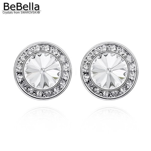 Bebella 1 4cm Round Crystal Stud Earrings With Crystals From Swarovski Fashion Jewelry Christmas Gift For