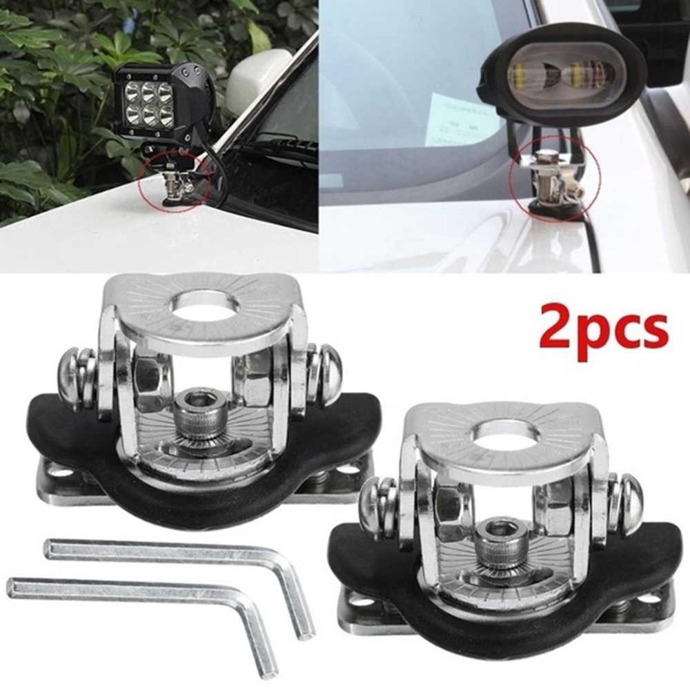 2PCS Universal Stainless Steel Car Auto Hood LED Work Light Bracket Offroad Excavator Truck Engine Cover Work Lamp Mount Holder