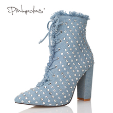 Original Pink Palms Autumn Winter Rivets Snow Boots High Heels Ankle Boots for Women Pointed Toe Fashion Sexy Women Boots