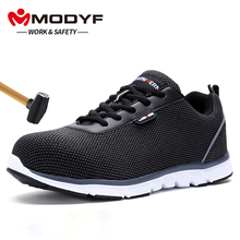 MODYF Men Steel Toe Work Safety Shoes Lightweight Breathable anti static Reflective Casual Construction Sneaker