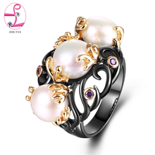 ZHE FAN Black Gold Color Vintage Rings Women Two Tone Plating AAA Cubic Zirconia Simulated Pearl Jewelry Ring Party Bijoux