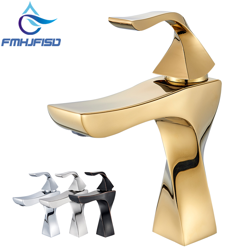 Golden Polished Bathroom Sink Faucet Mixer Water Tap Deck Mounted Hot and Cold Taps Single Handle