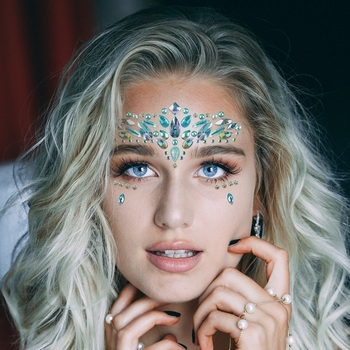 1Sheet Face Jewels Rhinestones Adhesive Crystal Face Gems Beauty Body Glitter Tattoo Art Eyebrow Face Body Jewelry