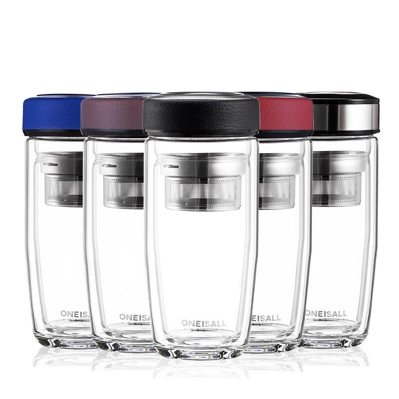 OneIsAll čajový skleněný kávový džbánek dvojitý džbán hrnčíř na čaj vodní láhev pohár kávové sklo s čajem filtr / krycí nápoj mužský dárek