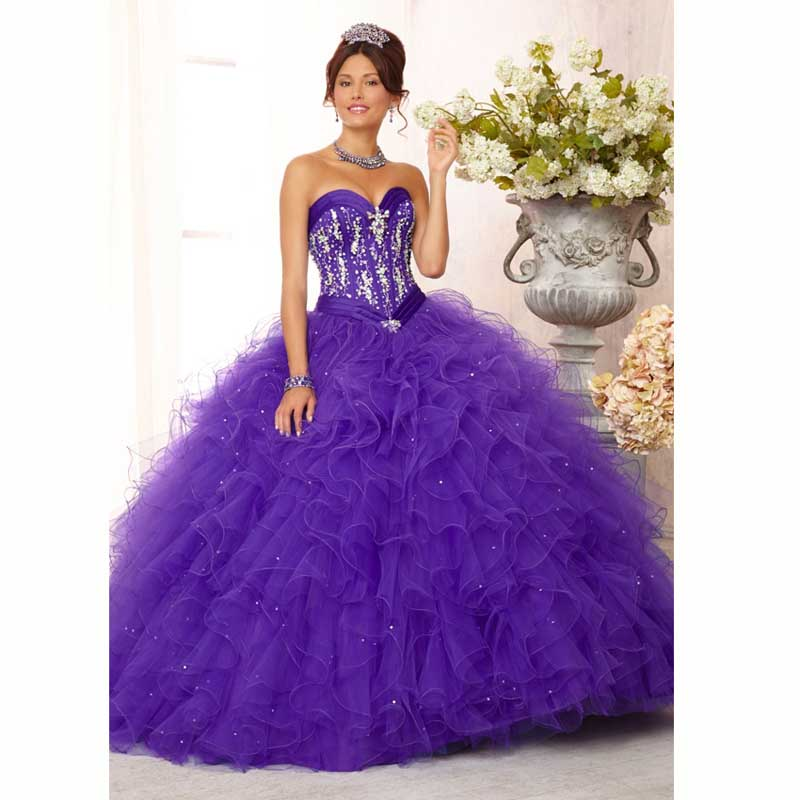 82400208cc 2015 New Purple Quinceanera Dresses Tulle Ruffles Ball Gown with Crystals  Pearls Sweet 16 Dresses Mint Party Gown Custom size
