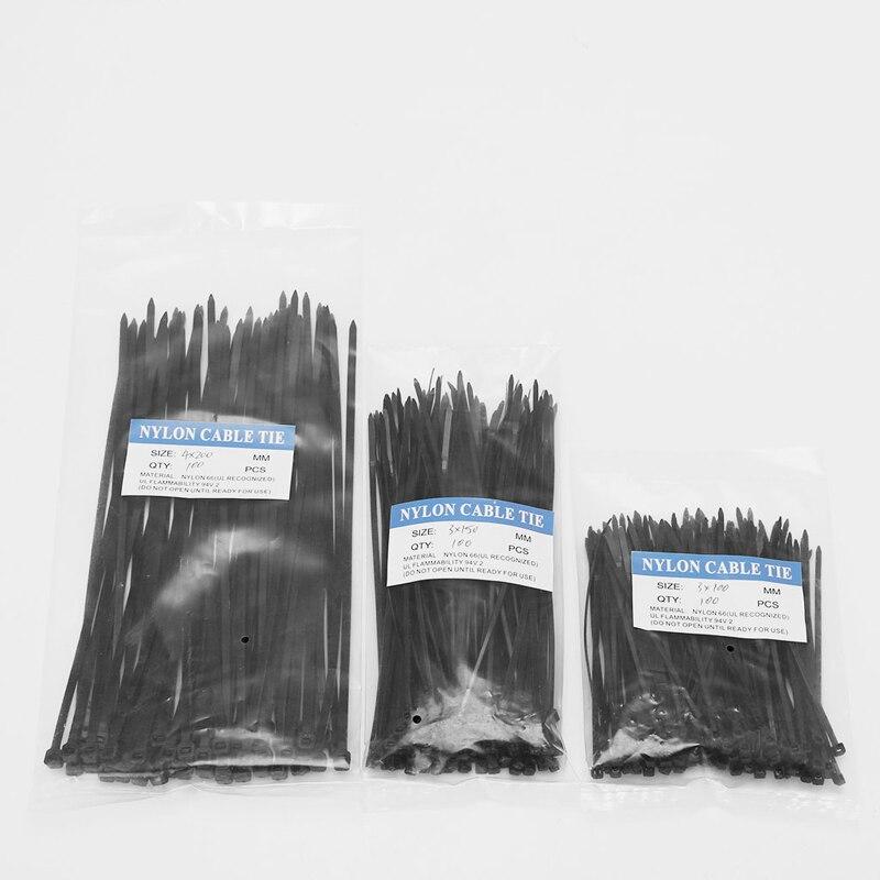 OOTDTY 250 Pcs Black/White Nylon Cable Self-locking Plastic Wire Zip Ties Set 3*100 3*150 4*200