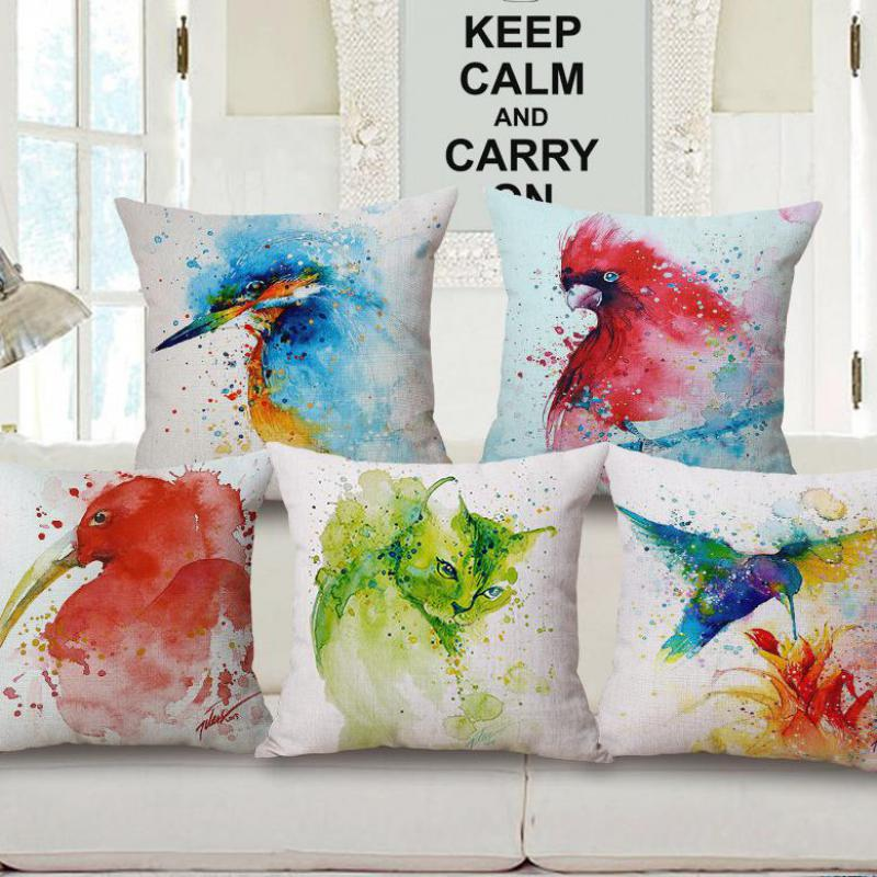 Factory Direct Sales Watercolor Paintings Birds Animal Printing Cotton  Linen Decorative Pillow Cushion For Home Sofa