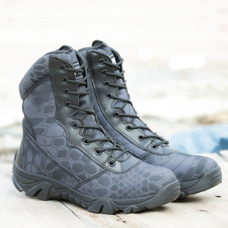 ФОТО Military Tactico Boots Men Black  Python Combat Shoes Army Hiking Tactical Shoes Outdoor High Quality Climbing CS Boots Men