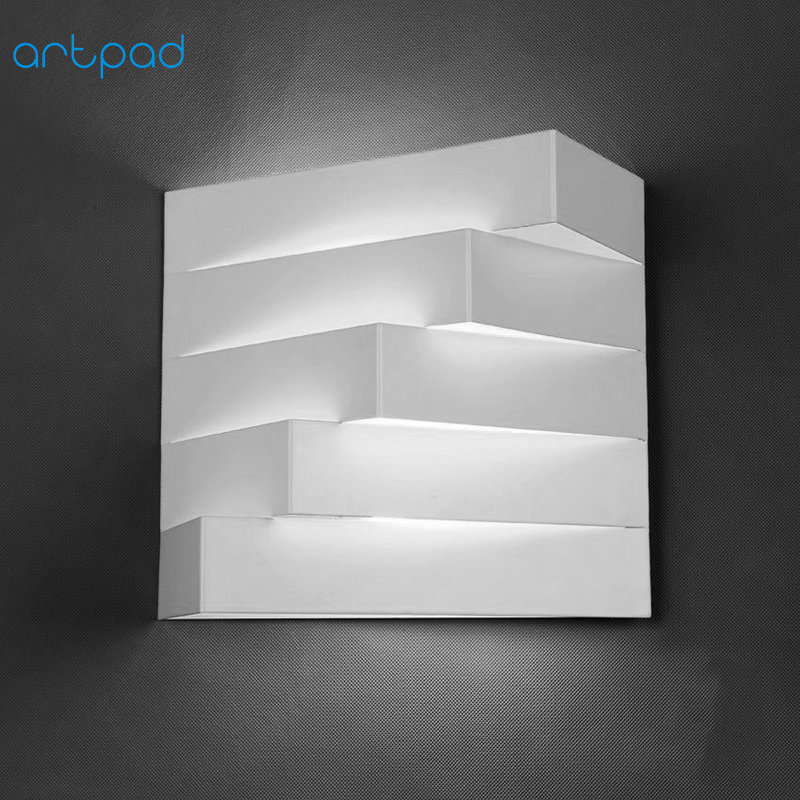 Artpad Nordic 3D White Modern Iron Wall Light E27 Base Showroom Bedroom Living Room Balcony Stairway Lamps Lighting