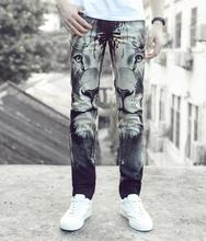 Personalized fashion autumn winter printing lion stage street jeans mens pants casual design trousers man men feet pants men's