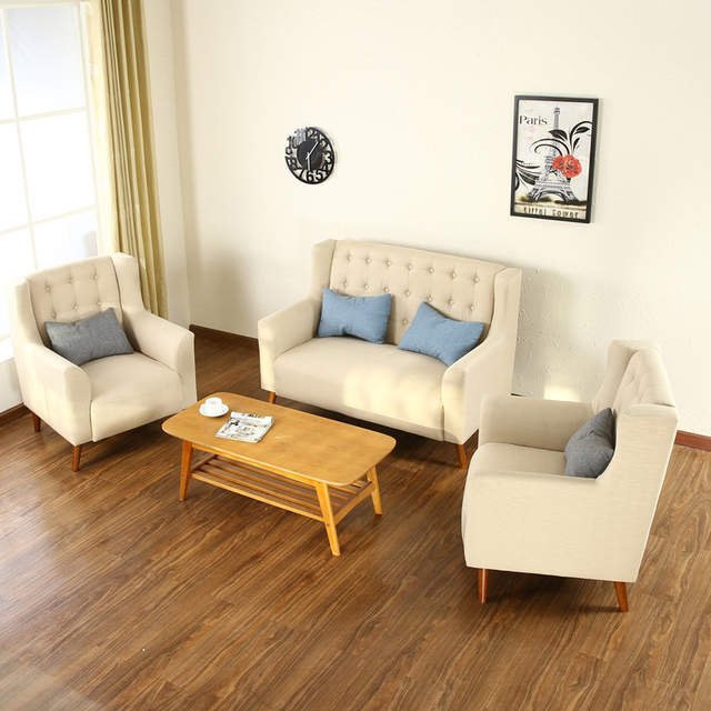 Office Sofa Office Furniture Hotel Coffee Shop Sofa Chairs Fabric Three  Pieces Sofa Sets Fashion Sectional