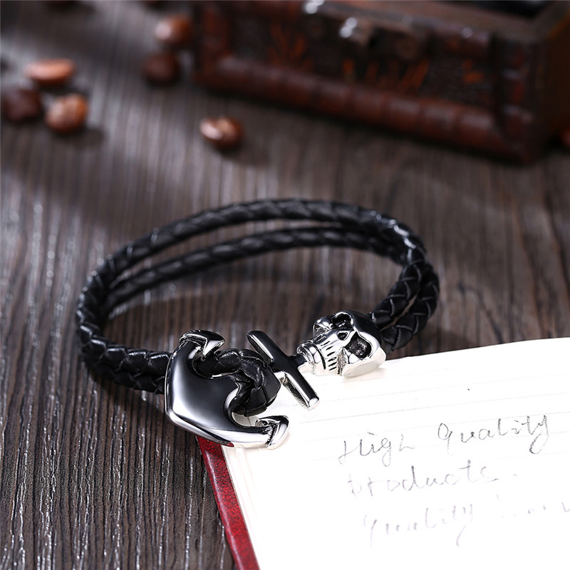 2017 Hot S Models Double Weave Leather Bracelet Accessories Silver Anchor Charm Man Tom Hope Skull Skeleton Black Bracelets In Chain Link