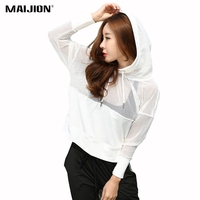 MAIJION Mesh Patchwork Yoga Shirt Women Loose Hooded Sport T Shirt Jacket Quick Dry Gym Running