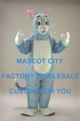 Hot Sale Blue Cat Mascot Costume Cartoon Character Adult Size Theme Carnival Party Cosply Mascotte Outfit Suit SW972