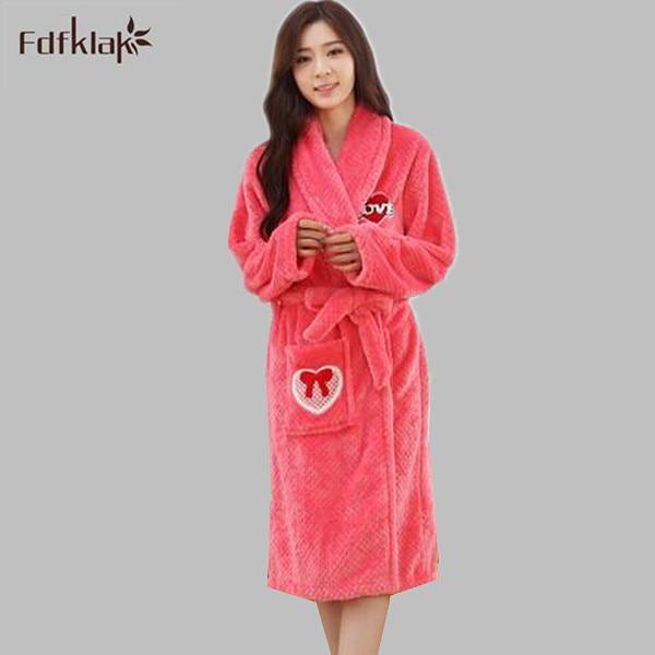 Women bathrobe new high quality loose dressing gowns long sleeve ...