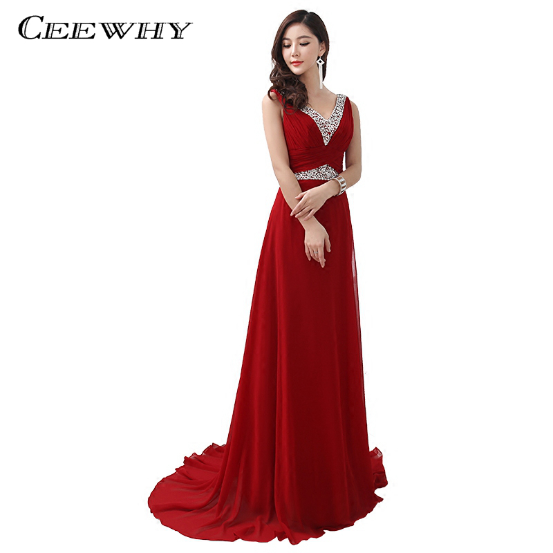 CEEWHY luxe robes de soirée en mousseline de soie longue robe élégante robes de bal perles cristal robe de soirée 2018 Abiye Vestido Longo