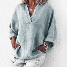 Summer Plus Size Tunic Women Cotton Linen Blouse 3XL Plus Size Female Shirt Solid V-Neck Long Sleeve Womens Tops and Blouses цена в Москве и Питере