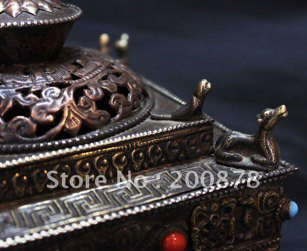 HDC0737 тибетская металлическая старинная ладана горелка, 14*15 см, квадратная башня йога бар декор искусство oranments, непальское ремесло