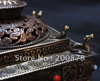 HDC0737 Tibetan metal antiqued vintage incense burner,14*15cm,square tower Yoga bar decor arts oranments,Nepal craft