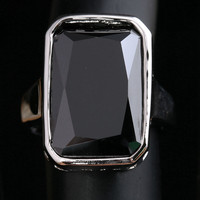 Dazzling Big Black Gems 925 Sterling Silver Women S Fashion Jewelry Rings Size 6 7 8
