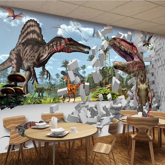 Foto Behang 3D Baksteen Dinosaurus Dier Muurschildering Kid\'s ...