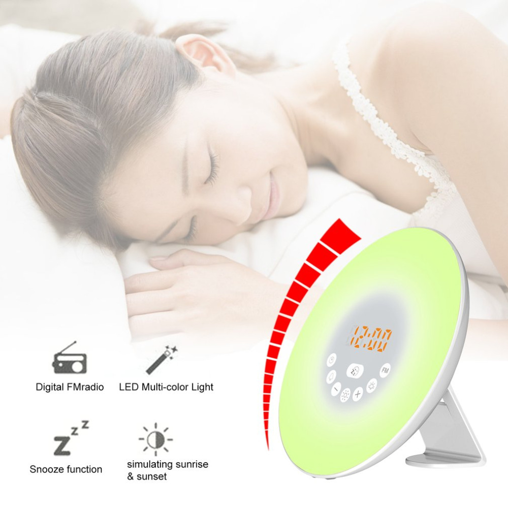 Digital LED Display Alarm Clock Simulated Sunrise Sunset Wake Up Light Touch Sensor Night Light Bedside Lamp Best Gift