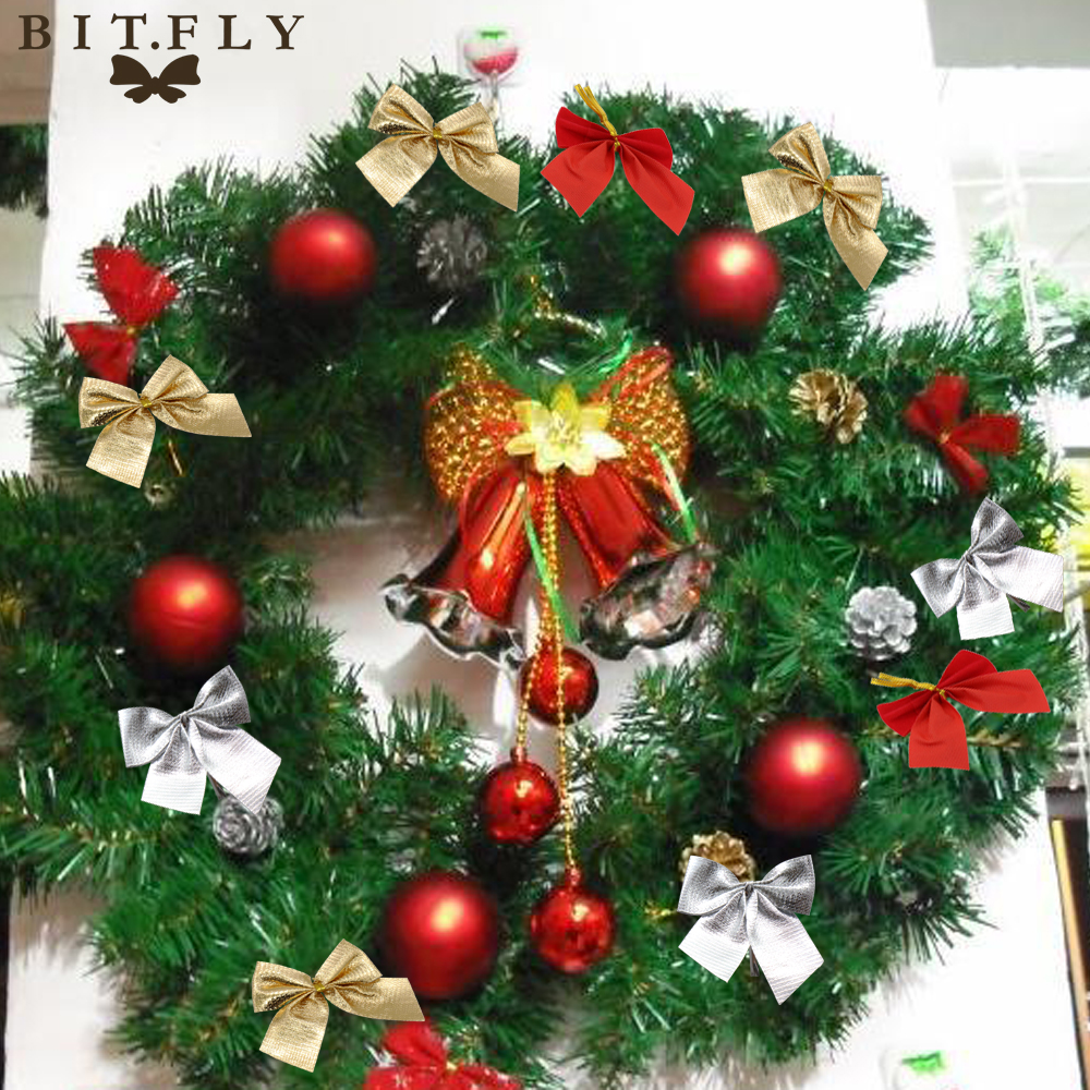 Bitfly christmas tree ornaments gold silver red bowknot 12 for Christmas tree with red and silver ornaments