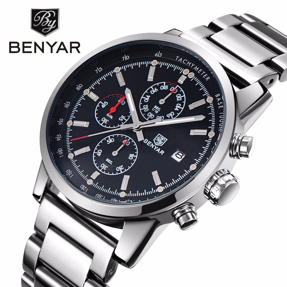 BENYAR Business Stainless Steel Quartz Watch Men Casual Chronograph Mens Watches Top Brand Luxury Waterproof Male Clock relogio watches men luxury brand chronograph quartz watch stainless steel mens wristwatches relogio masculino clock male hodinky